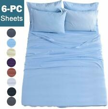 Shilucheng Full Size 6-Piece Bed Sheets Set Microfiber 1800 Thread Count Percale