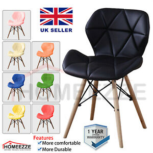 Eiffel Dining Chair Retro Wooden Legs Faux Leather Padded Patchwork Office Seat