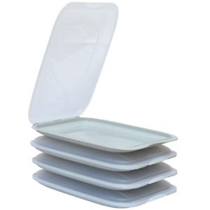 4x Stapelbare Aufschnittbox Frischhaltedose Wurst Behälter Aufschnittdose Grau