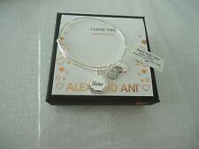 Alex and Ani Because I Love You Sister Silver Charm Bangle Bracelet