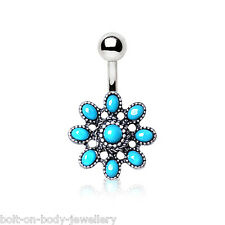 Vintage Turquoise Flower Navel / Belly Bar - 10mm Surgical Steel Body Jewellery