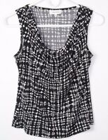 Calvin Klein Women's Tank Top Black White Print Cowl Neck Sleeveless Sz XS