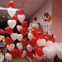 100 PACK RED & WHITE HEART SHAPE LOVE BALLOONS Wedding Party Valentines Birthday