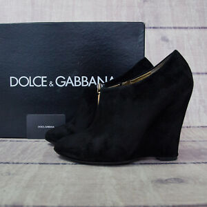 Dolce&Gabbana D&G Authentic Suede Black Wedges Ankle Boots 39 US 8 1/2 8.5