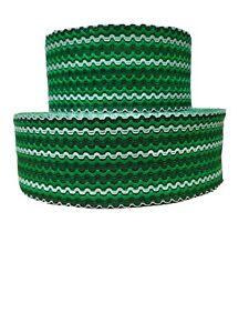 2Y Wide Green Black White Wavy Stretch Elastic Waistbands, Cuffs Multipurpose