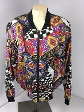 Papell Too Women's Jacket VTG 80's M Zip 2 Pocket Checkered Neon Bomber All-Over