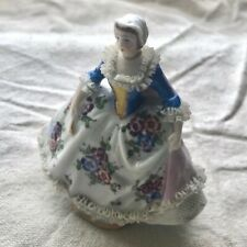 ANTIQUE Sitzendorf Porcelain Figurine of Woman in Ruffled Dress