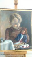 Peinture huile sur isorel enfant et sa poupée