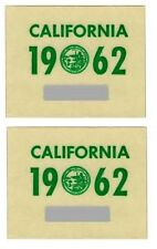 Pair of 1962 California License Plate Stickers Authentic YOM Full Size