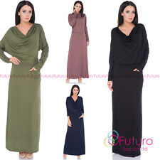 Ladies Semi-Formal Casual Cowl Neck Batwing Long Sleeve Ankle Length Dress FM39