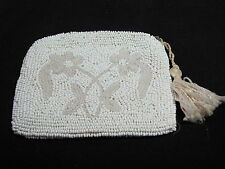 Vintage Solid Beaded Purse Seed Bead Small Change Kid Leather Lining Flowers