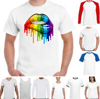 LGBT T-SHIRT Mens Lips Gay Pride Rainbow Colours Top Tee Outfit Clothing Lesbian