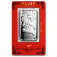 Lingot Suisse PAMP 1 Once d'argent pur / 1 Ounce Oz DRAGON 2012 Fine Silver Bar