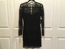 NWT Guess Black Lace Mesh Dress Sz 4 NEW Scalloped Womens Party Cocktail Sheath