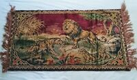 Antique tapestry -- jungle scene with lions and cubs -- colorful, nice condition