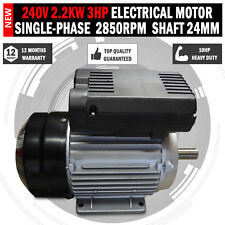 Electrical motor single-phase 240v 2.2kw 3HP 2850rpm shaft 24mm Air compressor