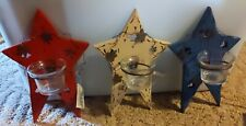 Red White And Blue Primitive 9 1/2 Inch Stars With Votives