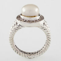 David Yurman Cerise Pearl Solitaire Ring w/ Diamond Bezel Size 5 Gorgeous!