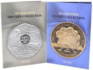 NEW 2021 £2 50p Coin Collectors Albums Twin Pack Beatrix Potter RAF Paddington