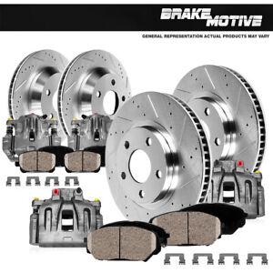Front+Rear Brake Calipers + Ceramic Pads For + Rotors 2007 - 2018 Jeep Wrangler