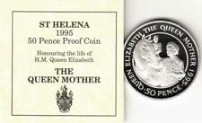 St Helena 1995 Queen Mother 50p Coin Silver Proof Fifty Pence With COA