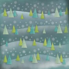 12x12 Scrapbook Paper WINTER TREES #64987 Card Making Christmas Snow Blue Green