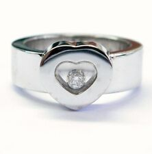 "Fine ""Chopard"" Flat Heart Floating Diamond Ring WG 18KT"