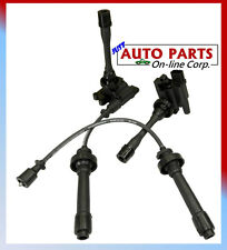 2 ignition coils + spark plug wires set lancer l4 2 0l 2 4l eclipse 00