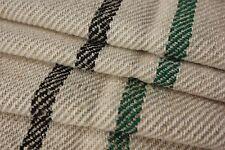 Grain sack material grainsack fabric 7.7Yds damaged Green Black stripe