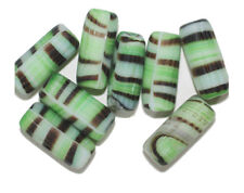 Green Tiger Tube Czech Pressed Glass Beads 9x18mm  (pack of 8)