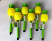 Six Yellow Pineapple Solar Garden Stake Lamps Outdoor Landscape Yard Path LED