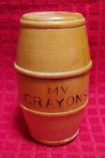Vintage Antique My Crayons Wooden Barrel 1960s With Vintage Crayons