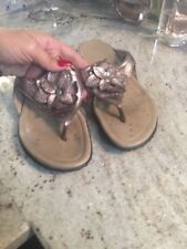 Ecco Sandals 39 Sz 8 Bronze Gold Thong Sandal Shoes