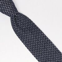 Gladson Mens Cotton Necktie Navy White Pindot Textured Knit Square End Tie Italy