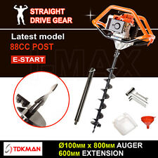 88CC TDKMAN Petrol Post Hole Digger Earth Auger 100mm Drill 600mm Ex Fence Borer