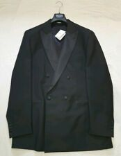 HACKETT LONDON Double Breasted Wool Tuxedo Suit Dinner Jacket Blazer Black - 46