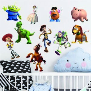 Toy Story Woody Buzz Lightyear 3D Torn Hole Ripped Wall Sticker Decal Art WT242
