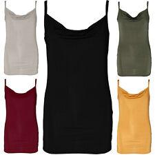 068a5054f4ff6 LADIES COWL NECK VEST TOP SLINKY WOMENS CAMI BODYCON MINI DRESS STRAPPY  SATIN
