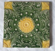 STUNNING FLORAL celadon yellow sunflower DESIGN 6 INCH ANTIQUE TILE. 7 AVAILABLE