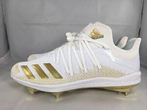 Adidas Adizero AfterBurner 6 White/Gold Men's Metal Baseball Cleats Size 10.5