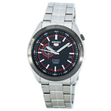 Seiko 5 Sports 100M 24 Hour Sub-Dial Red Men's Stainless Steel Strap Watch