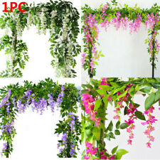 7FT Artificial Wisteria Vine Garland Plants Foliage Flower Home Garden Fences