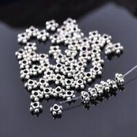 50pcs 4mm Flower Round Shape Tibetan Silver Metal Loose Spacer Beads Jewelry DIY