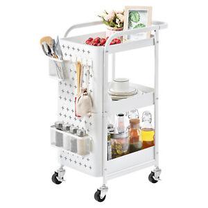 3 Tier Kitchen Trolley Rolling Cart Storage Rack Tray Shelf on Wheels W/ Handle