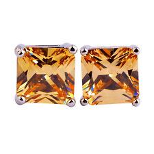 Beautiful Gift Morganite Stud Fashion Jewelry Gemstone Silver Earring Free Ship