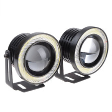 "2.5"" COB LED Fog Light Projector Lamp + White Halo Angle Eyes Ring Bulb DRL"