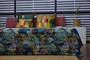 100% Cotton Twin Size Bed Cover Indian Bedding Kantha Quilt Coverlet Bedspread.