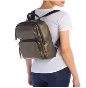 Urban Expression High Shine Backpack Olive Green Vegan Leather Medium Size