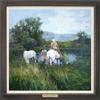 "Hand painted Original Oil painting art Landscape horse girl on Canvas 30""X30"""