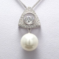 925 Sterling Silver Cubic Zirconia Pearl Gemstones Dancing Necklace Pendant New